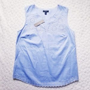 J. Crew tank top eyelet chambray embroidered NEW 4